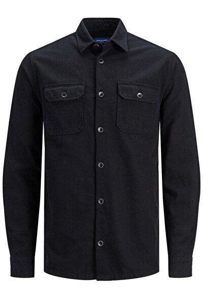 Erkek Siyah Cepli Overshirt Günlük Gömlek - 12187929