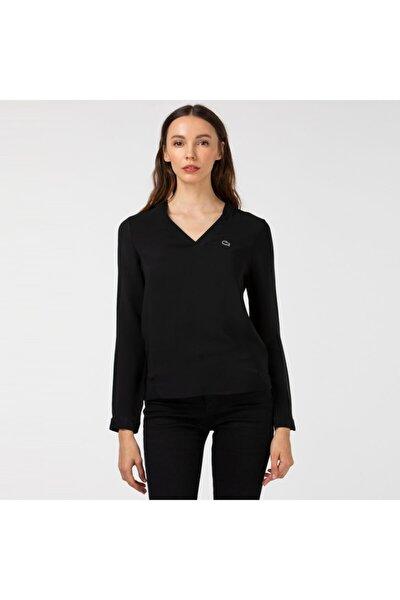 Kadın V Yaka Uzun Kollu Siyah Bluz