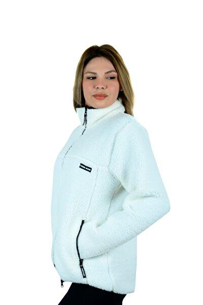 Unisex Polar Beyaz Sweatshirt Ceket Hırka Cepli Fermuarlı