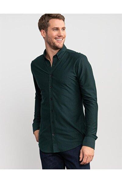 Slim Fit %100 Pamuk Çizgili Yeşil Gömlek