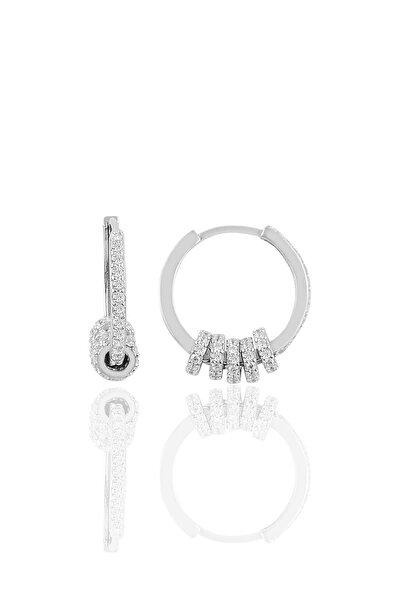 Gümüş Zirkon Taşlı Rodyumlu Ring Küpe
