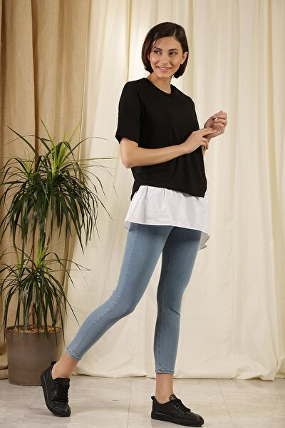 Kadın Asimetrik T-shirt Siyah