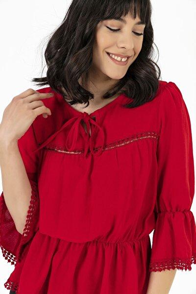 Büzgülü Ispanyol Kol Krep Bluz Kırmızı