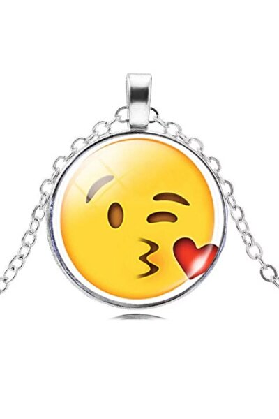 Öpücük Atan Emojili Kolye - Özel Üretim Kolye -türkiye'de Ilk Ve Tek - Özel Tasarım