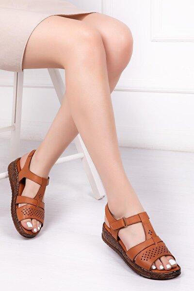 Hakiki Deri Taba Kadın Deri Sandalet Crz-0543