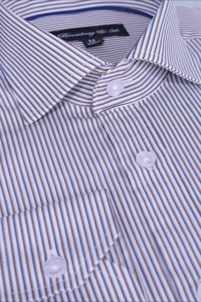 Broadway Uzun Kollu Çizgili Erkek Gömlek Tan