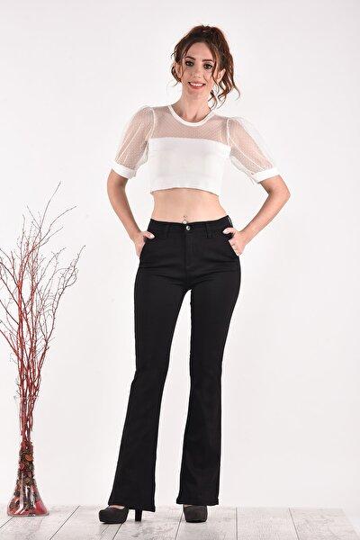 Yüksek Bel Ispanyol Paça 836 Model Black Bayan Jeans Pantolon