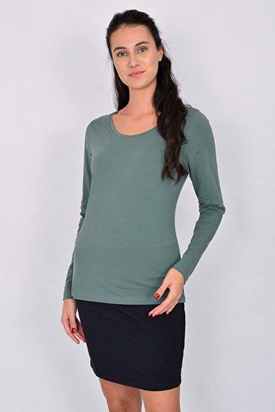 Pamuk Uzun Kollu Kadın T-shirt Yeşil