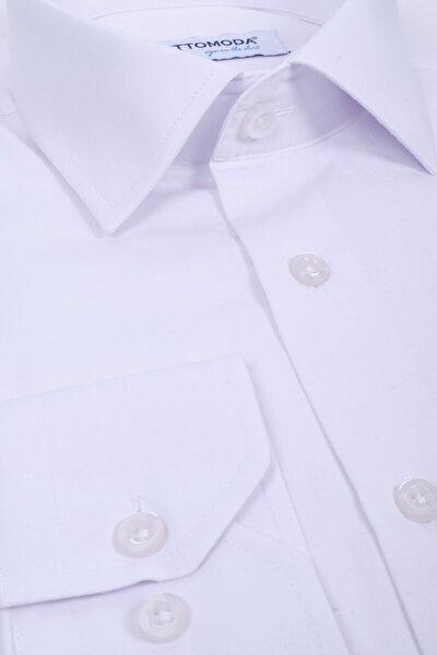Beyaz Uzun Kollu Cepli Klasik Gömlek