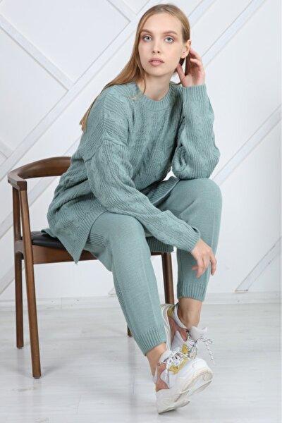 Kadın Örme Mint Triko Alt-üst Takım
