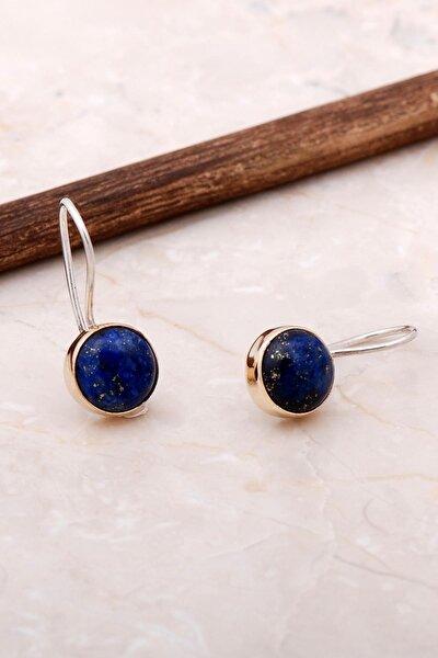 Lapis Lazuli Taşlı Elişi Trend Gümüş Küpe 5063