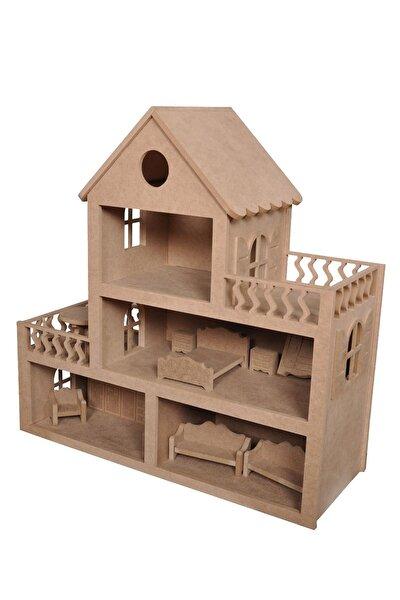 Ahşap Oyuncak Bebek Evi(15 Adet Mobilyalı)