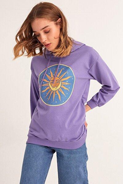 Güneş Baskılı Kapüşonlu Sweatshirt