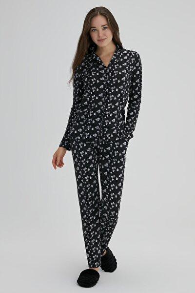 Kadın Siyah Pamuk Çiçek Desenli Gömlek Pijama Takımı