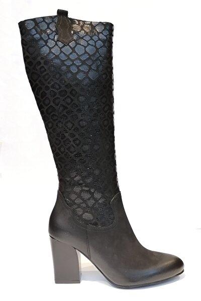 Hakiki Deri Siyah Kadın Çizme