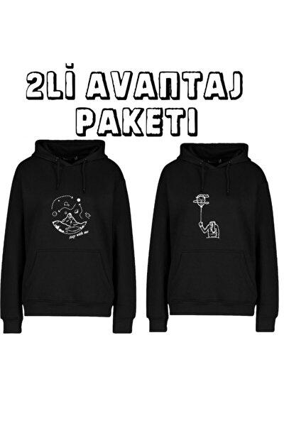 2li Avantaj Paket Ünisex Baskılı Kapüşonlu Sweatshirt Paket 2