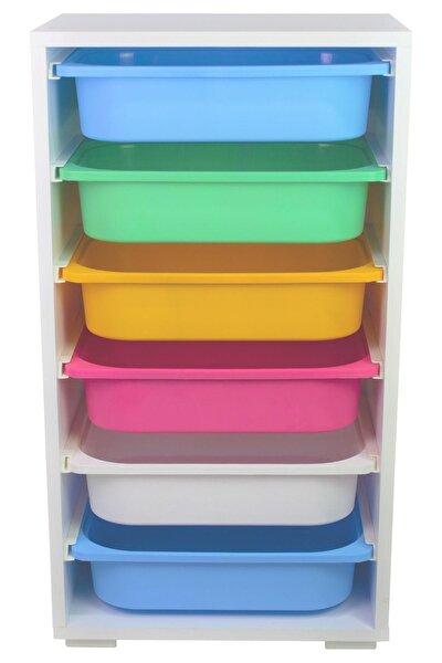 Renkli 6 Sepetli Çok Amaçlı Dolap
