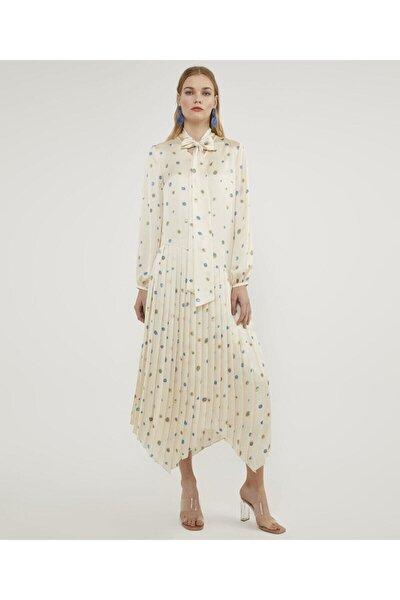 Kadın Original Piliseli Desenli Elbise V43120233