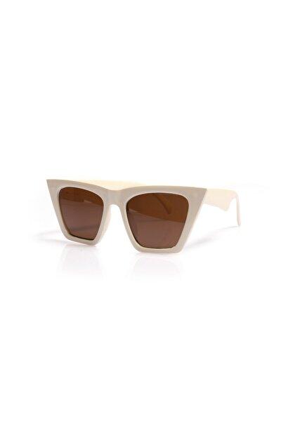 ml 11 Cat Eye Beyaz Kahve Kadın Güneş Gözlüğü