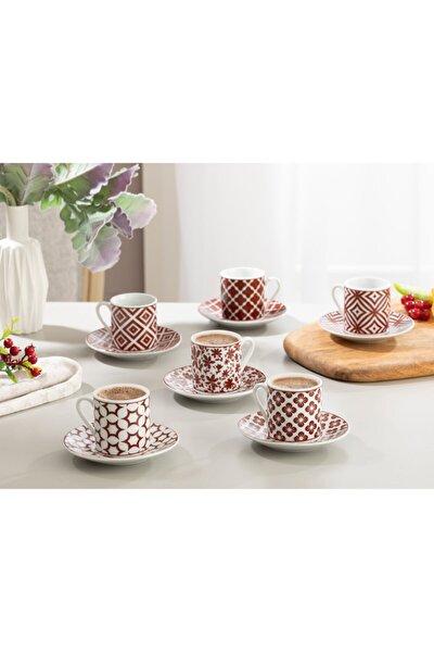Mira Porselen Kahve Fincan Takımı 80 ml Bordo