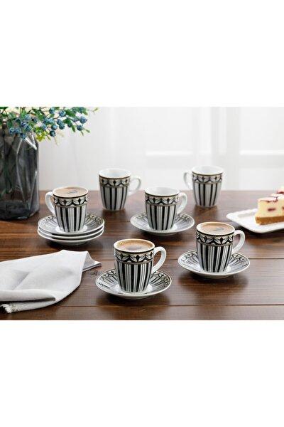 Eldora Porselen 12 Parça Kahve Fincan Takımı 100 Ml Siyah - Beyaz