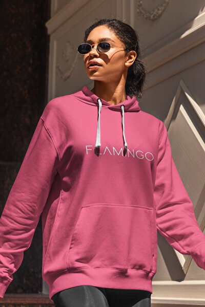 Kadın Justflamingo Sweatshirt Fuşya