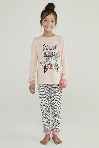 Çok Renkli Kız Çocuk Bugs Bunny 2li Pijama Takımı