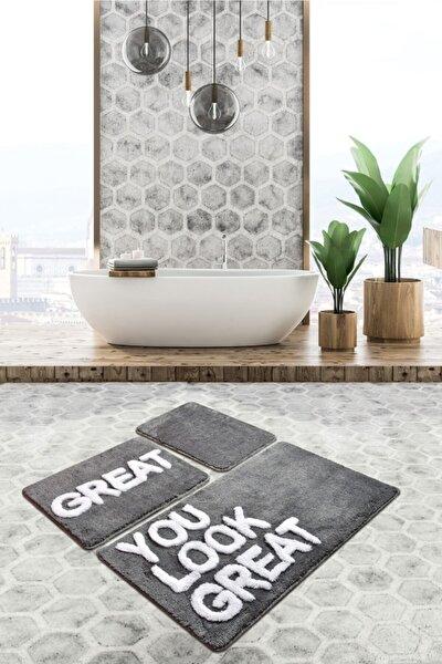 Great Gri 3 Lü Set Banyo Halısı, Paspas