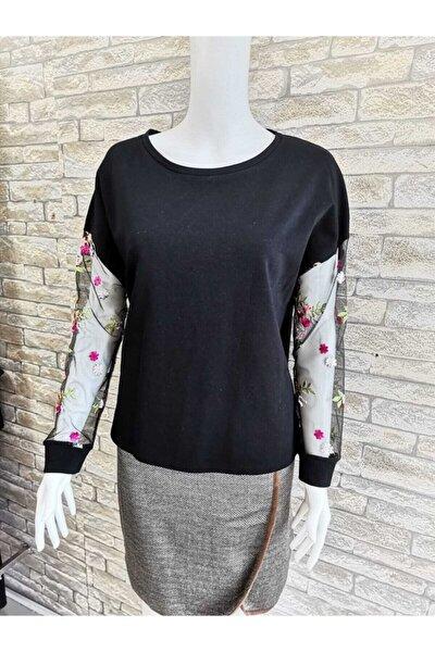 Kadın Siyah Kolu Çiçek Tüllü Bluz