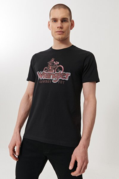Erkek Siyah Regular Fit Bisiklet Yaka T-shirt