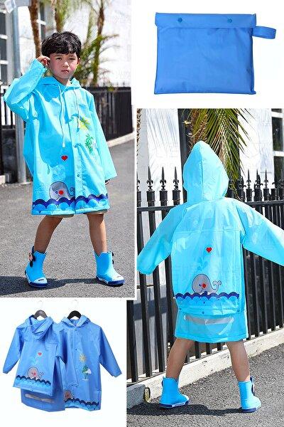 Unisex Çocuk Hayvan Figürlü Kapüşonlu Yağmurluk Çantalı Mavi