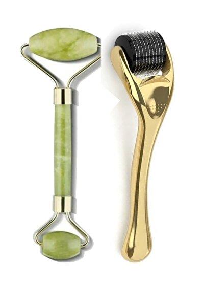 0,5 Mm Gold Dermaroller Titanyum Uçlu 540 Iğneli Cilt Yenileme Aleti Ve Jade Roller 2'li Yeşim Taşı