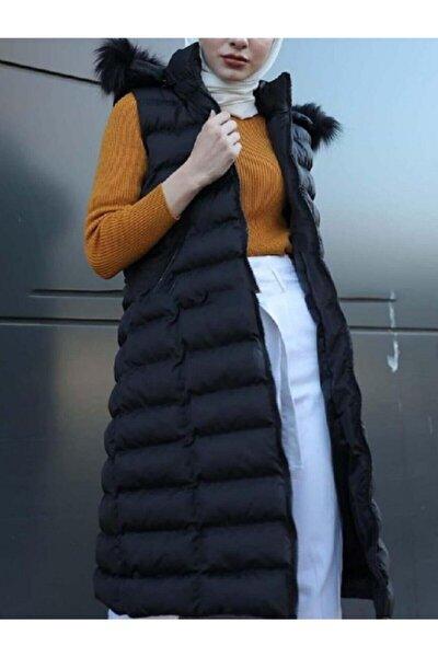 Kadın Siyah Seyyar Kapüşonlu Şişme Yelek - 95cm