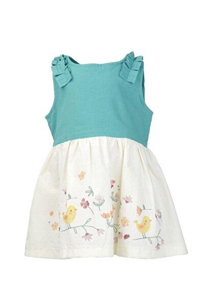 Kız Çocuk Yeşil Kuş Baskılı Dokuma Elbise (9ay-4yaş)