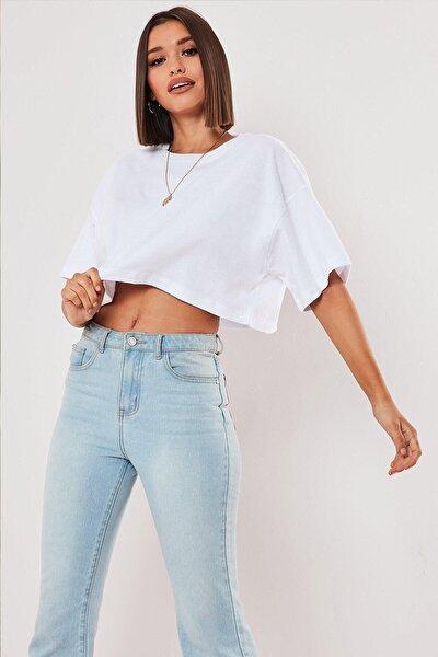 Beyaz %100 Pamuk Bisiklet Yaka Oversize Crop T-shirt