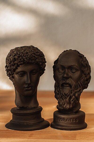 Siyah Hermes + Socrates 2'li Heykel Büst
