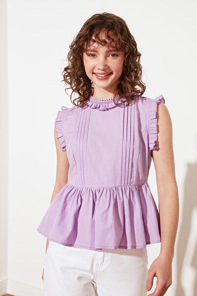Lila Petite Dik Yaka Bluz TWOSS21BZ1450