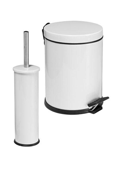 2 Li Çöp Kovası Banyo Seti Beyaz
