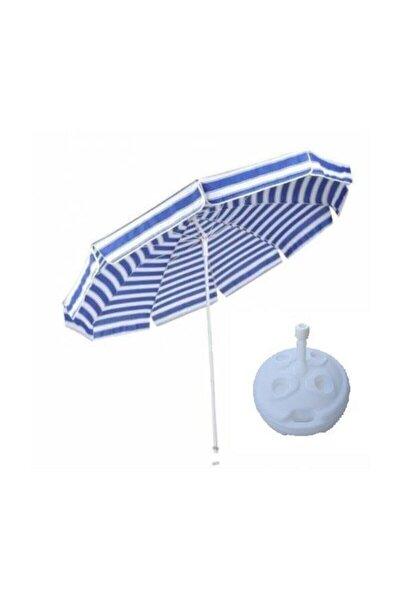 Yüksek Kalite 10 Telli Eğilebilir 200 cm Plaj Şemsiyesi Bidon Dahil