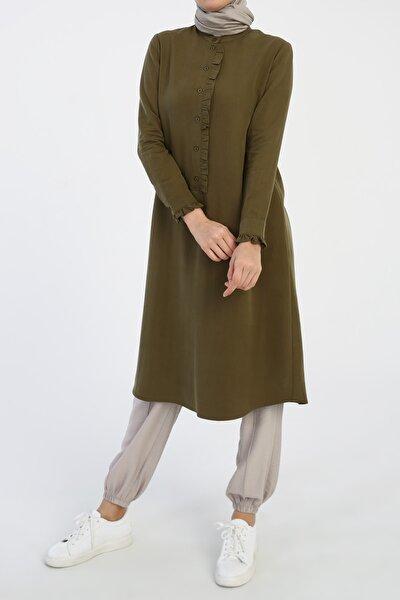 Soft Yeşil Fırfırlı Düğmeli Tunik