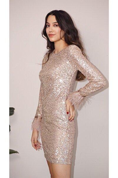 Kadın Gold Tüy Kol Detaylı Payet Elbise