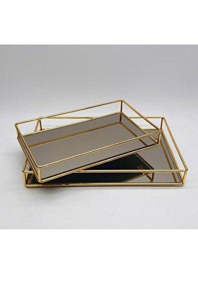 2 Li Metal Tel Dikdörtgen Aynalı Tepsi Silver/gümüş /gold