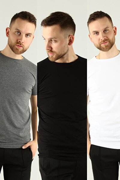 Erkek Çok Renkli 3'lü Paket Basic Slim Fit T-shirt