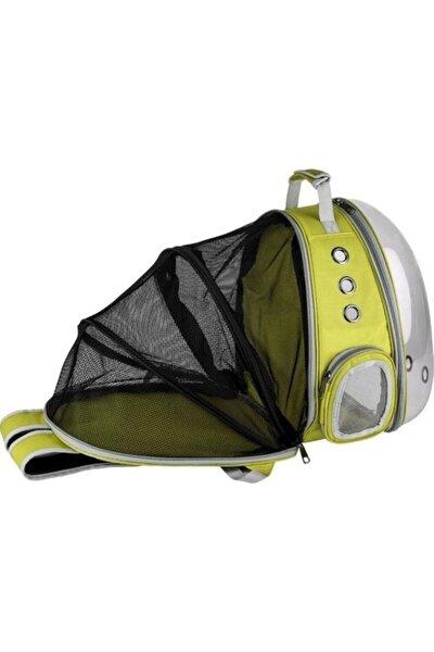 Şeffaf Fileli Astronot Kedi Köpek Taşıma Çantası 42x22x33 Cm Sarı