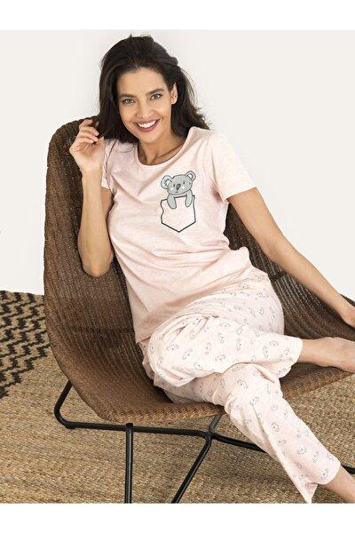 Kadın Pembe Koala Desenli Pijama Takım 67135