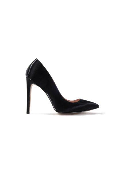 Kadın Siyah Mat Rugan Topuklu Ayakkabı