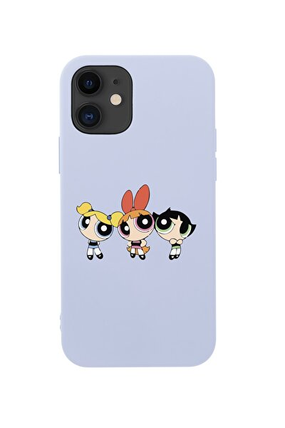 Iphone 12 Mini Powerpuff Girls Tasarımlı Lila Telefon Kılıfı