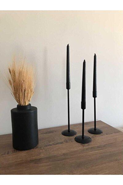 3'lü Metal Çubuk Siyah Mumluk Şamdan Samdan