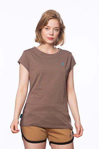 Kadın Açık Kahve Süprem Kısa Kollu Basic Tişört