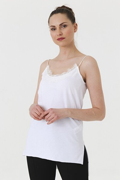 Ip Askılı Dantelli Yırtmaçlı Bluz - Beyaz